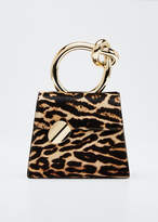 Benedetta Bruzziches Brigitta Small Flap Leopard Calf Hair Top Handle Bag
