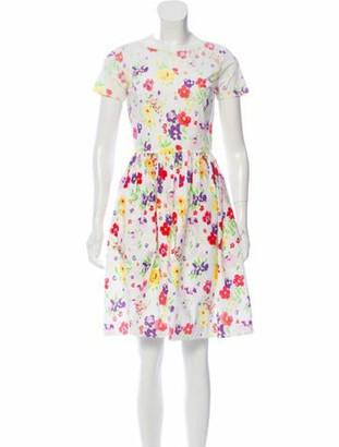 Oscar de la Renta 2016 Floral Print A-Line Dress White