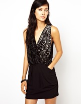 Edun Burn Out Velvet Mix Origami Dress