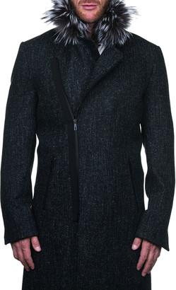 Maceoo Men's Zip-Front Pea Coat w/ Faux Fur Trim