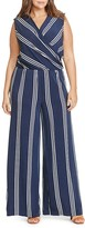 Lauren Ralph Lauren Plus Stripe Faux Wrap Jersey Jumpsuit