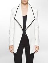 Calvin Klein Ponte Knit Faux Leather Jacket