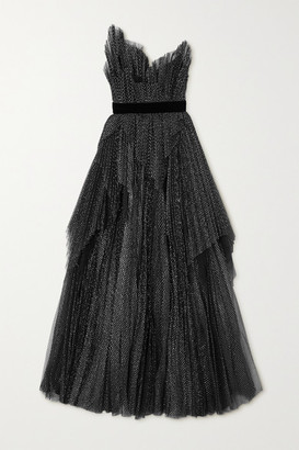 RALPH & RUSSO Strapless Embroidered Tulle Gown - Black