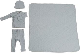 Barefoot Dreams Cardigan, Pants, Beanie & Blanket Set