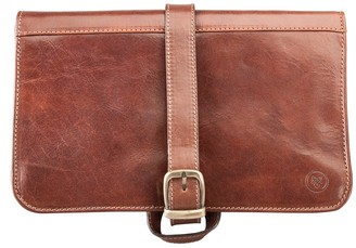 Maxwell Scott Bags Full Grain Leather Hanging Toiletry Bag For Men