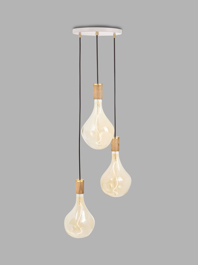 Tala Oak Triple Pendant Cluster Ceiling Light with Voronoi II 3W ES LED Dimmable Tinted Bulbs