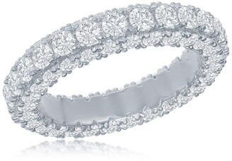 Simona Jewelry Sterling Silver Pave CZ Eternity Band Ring