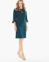 Chico's Ponte Bell-Sleeve Short Dress in Swiss Pine