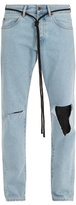 Off-White Ripped diagonal-motif slim-leg jeans