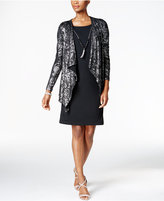 Jessica Howard Metallic Lace Layered-Look Dress