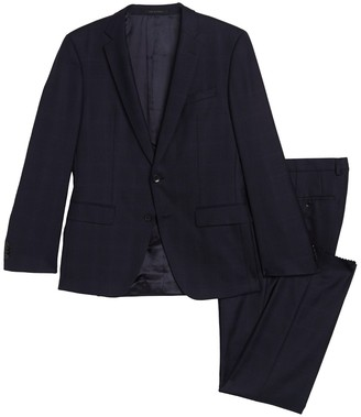 HUGO BOSS Genius Navy Tonal Check Two Button Notch Lapel Wool Suit