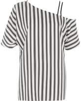 River Island Womens Black stripe one shoulder cami strap top