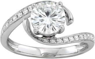 Charles & Colvard 14k White Gold 1 3/4 Carat T.W. Lab-Created Moissanite Bypass Ring