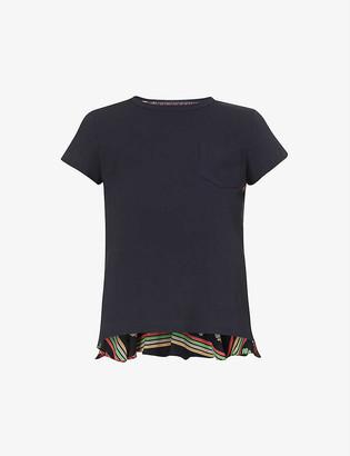 Sacai Graphic-print cotton-jersey and satin T-shirt