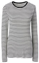 Lands' End Women's Petite Shaped Cotton Crewneck T-shirt-Ivory Stripe