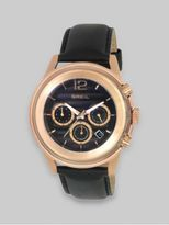 Breil Milano Rose Gold IP and Black Leather Three-Chronograph Watch