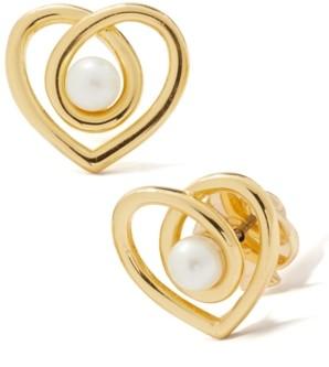 Kate Spade Gold-Tone Imitation Pearl Infinite Heart Stud Earrings