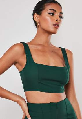 Missguided Green Co Ord Super Scoop Crop Top