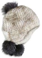 Surell Mink & Fox Fur Pom-Pom Helmet