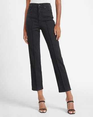 Express Super High Waisted Black Seamed Straight Jeans