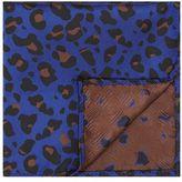 Topman Blue Leopard Print Pocket Square
