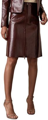 Reiss Hanna Leather Midi Skirt