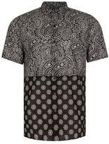 Topman Black Bandana Print Short Sleeve Casual Shirt