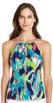 Caribbean Joe Women's The Bluff High-Neck Underwire Tankini with Cutouts