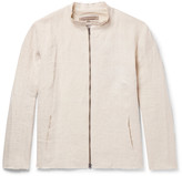 By Walid - Collarless Raw-edged Linen Jacket