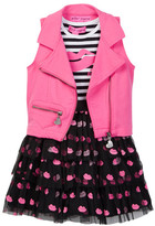 Betsey Johnson Striped Top & Flocked Tulle Bottom Dress & Moto Vest Set (Toddler Girls)