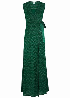 M Missoni Teal metallic-knit wrap maxi dress