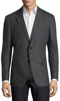 Salvatore Ferragamo Virgin Wool Jersey Two-Button Blazer, Gray