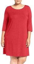 Eileen Fisher Plus Size Women's Ballet Neck Jersey Dress
