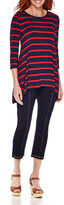 Sag Harbor Blue Shades 3/4-Sleeve Stripe Tunic Top