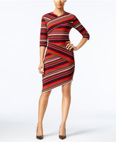 ECI Striped Asymmetrical Sheath Dress