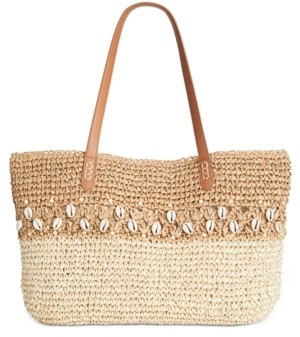INC International Concepts Inc Shells & Knots Straw Tote, Created for Macy's