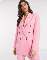 Asos Design DESIGN mom suit blazer in pop pink