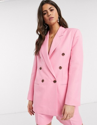 ASOS DESIGN mom suit blazer in pop pink