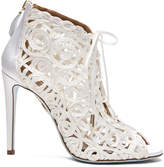 Aquazzura Satin Lattice Kya Bridal Booties