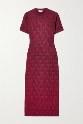Fendi Cotton-blend Jacquard Midi Dress - Claret