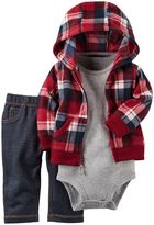 Carter's Baby Boy Buffalo Plaid Microfleece Cardigan, Bodysuit & Faux-Denim Pants