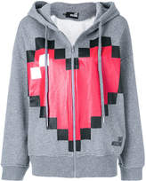 Love Moschino pixel heart print zipped hoodie