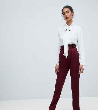 Y.A.S Tall Belted High Waisted Trouser-Red