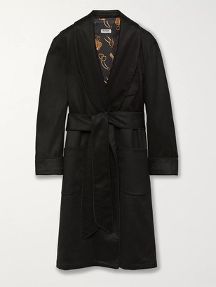 Paul Stuart Piped Checked Wool And Cashmere-Blend Robe
