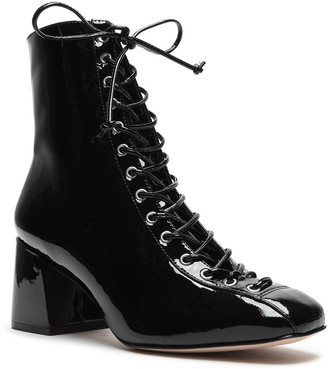 Schutz Kika Patent Victorian Lace-Up Booties