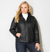 Avenue Hooded Faux Leather Motorcycle Jacket
