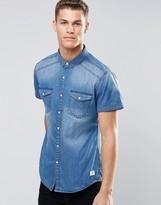 Esprit Short Sleeve Denim Shirt in Mid Wash