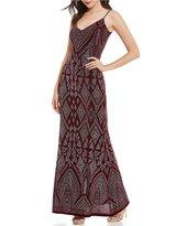 Jump Spaghetti Strap Glitter-Pattern Long Dress