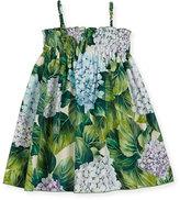 Dolce & Gabbana Hydrangea-Print Poplin Sundress, Size 2-6
