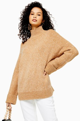 Topshop Womens Camel Knitted Super Soft Funnel Neck Jumper - Camel